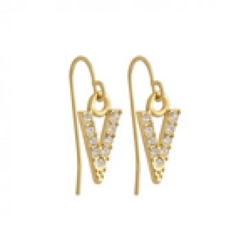 Gold Crystal V Earrings