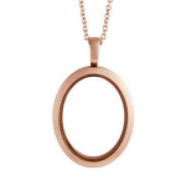 Large Matte Rose Gold Oval Locket