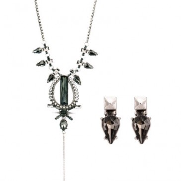 Individualist Black Diamond Necklace and Earring Set