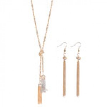 Lariat with 2 Tussles Necklace w/Matching Earrings