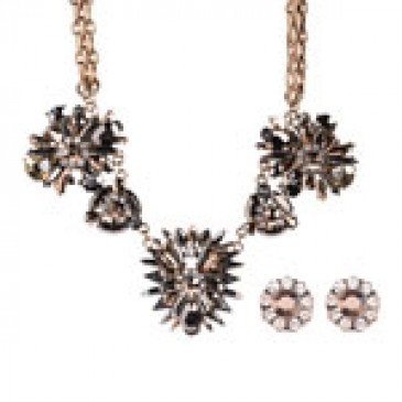 Metallic Necklace with Matching Earrings