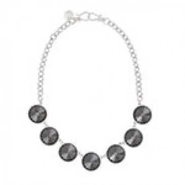 Mirai Silver Necklace with black Glass Crystals
